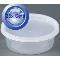 25X Round Plastic Disposable Containers With Lids 225mL