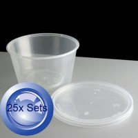 25X Round Disposable Food Containers With Lids 450mL