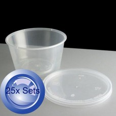 25X Round Disposable Containers + Lids 450mL