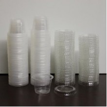 100X Round Disposable Plastic Sauce Containers 30ml