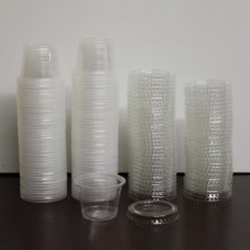 100X Round Disposable Plastic Containers+Lids 1oz