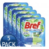 5X Bref Duo-Active Lime & Mint Toilet Cleaner Block 50mL