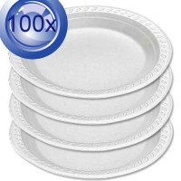 2X Disposable Regular 230mm Plastic Plates 50PK