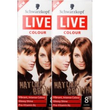 2X Schwarzkopf Live Colour Natural Brown Hair 8 Washes