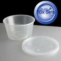 50X Round Disposable Containers 110mL & Lids
