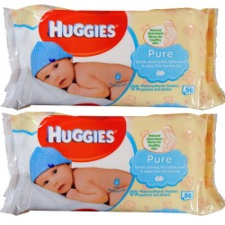 2X Huggies Baby Wipes Pure Unscented 56PK