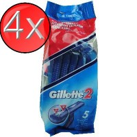 4X GILLETTE2 Disposable Razors PK5