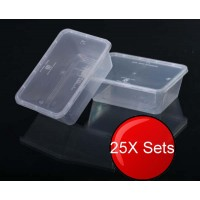 25X 750mL Plastic Food Containers With Lids