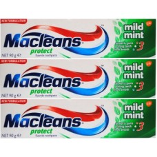 3X MacLeans Fluoride Toothpaste Protect Mild Mint 90g