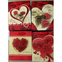 4X Assorted Sturdy Valentine Gift Bag Medium