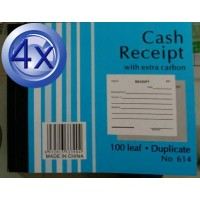4X Cash Receipt Duplicate 100 Leaf