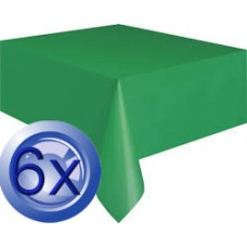 6X Dark Green Disposable Plastic Table Covers