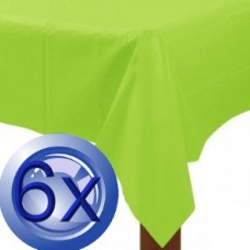 6X Apple Green Disposable Plastic Tablecloths