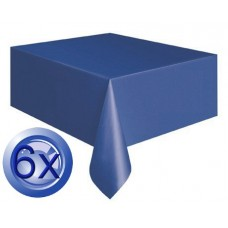 6X Blue Plastic Disposable Tablecloths