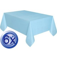 6X Tablecloths Baby Blue Disposable Plastic