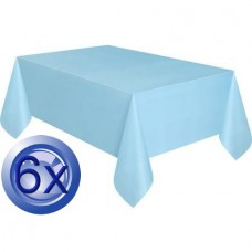6X Baby Blue Disposable Plastic Tablecloths