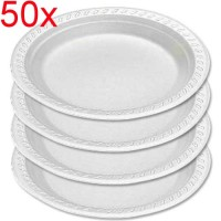 50X Disposable Plastic Plates Large 260mm Round