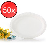 50X Thick Disposable Plates Plastic Large Oval