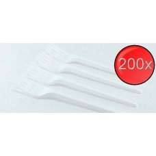 200X White Plastic Disposable Forks