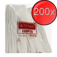 200X White Disposable Plastic Knives