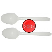 200x White Disposable Plastic Spoons