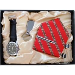 Elegant Watch Gift Set Present With Tie, Key Ring
